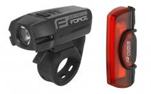 Set (přední a zadní) světel na kolo Force Glare USB