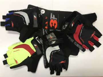 Cyklistické rukavice gelové 3F vision Racing team 2018 černo-červené