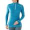Termoprádlo 1.vrstva  SMARTWOOL triko Mid 250 Pattern zip horizont blue modré dámské